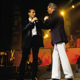 Mel Jr. and Mel Sr. together on stage
